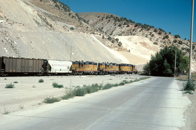 UP Park City Local switching the Devils Slide cement plant. October 1976. (Ralph Gochnour Photo)