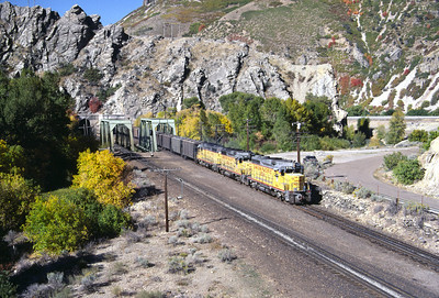 GP30s on the Park City Local, on the mainline at Taggarts, Utah. September 1985. (Don Strack Photo)
