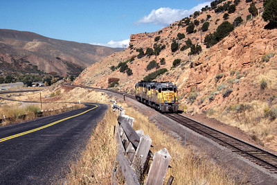 GP30s on the Park City Local, passing Echo Reservoir. September 1985. (Don Strack Photo)