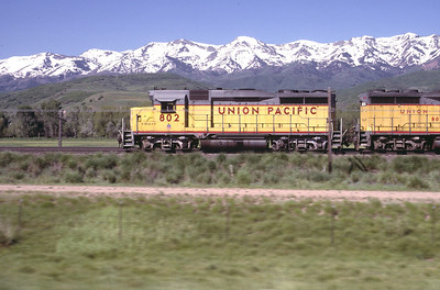 GP30s on the Park City Local, on the mainline near Morgan, Utah. July 1986. (Blair Kooistra Photo)