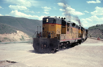 GP9s on the Park City Local, at the end of the line at Phoston, Utah. June 1976. (Ralph Gochnour Photo)