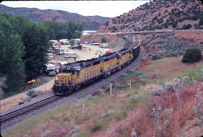 GP30s on the Park City Local, at the Echo Reservoir boat ramp, July 1983. Warren Johnson Photo