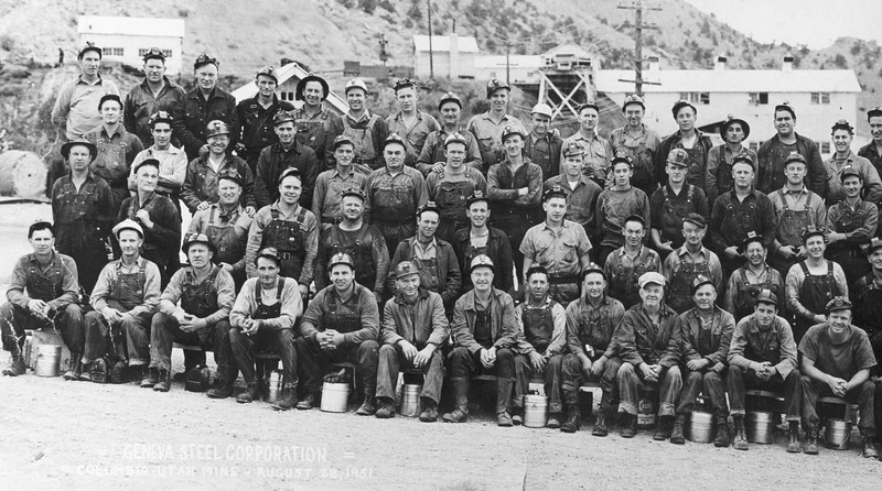 Columbia Mine. showing tipple, August 28, 1951. (Names of men not recorded.)