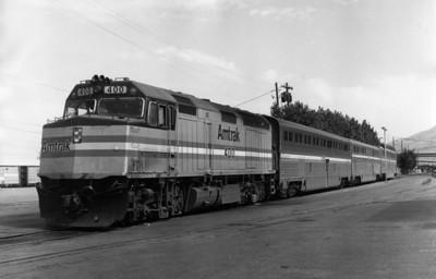 Amtrak leaving Salt Lake City. 1986. (Jim Ozment Photo)