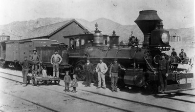 """Utah Central Railway 14 (ex UP """"Belevue""""), Frisco, Utah. (Union Pacific Historical Collection)"""