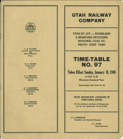 Utah Railway Employee Timetables