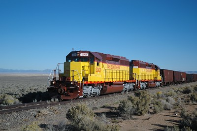 Utah Southern''s first train, made up of a test train of 25 empty cars, shown here at milepost 3.4 on Friday October 17, 2008.
