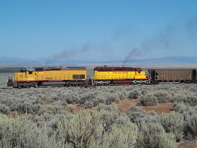 Utah Southern SD40T-2 3100 and SD40-2 3000, with train. September 12, 2011. (Robert Lehmuth Photo)