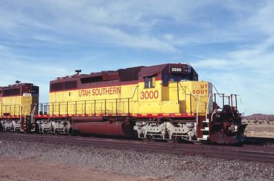 Utah Southern SD40-2 3000. Iron Springs, Utah. December 29, 2011. (Robert Lehmuth Photo)