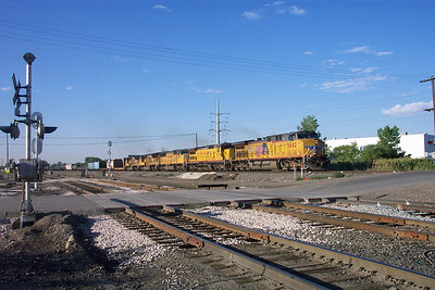 Northbound UP train on former D&RGW track; 1700 North crossing