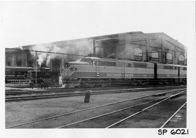 SP Alco PA 6021 and GE 44-ton, Ogden, March 2, 1957. (Vic Oberhansley Photo)