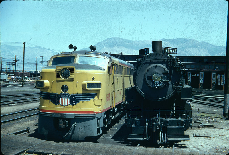 UP Alco FA 1605 and 2-8-2 1924, Ogden, June 5, 1956. (Vic Oberhansley Photo)