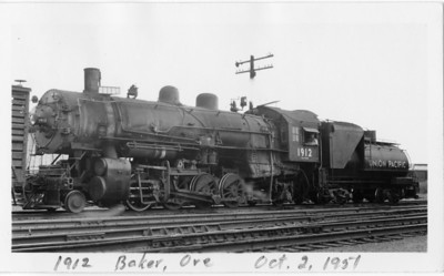 UP 2-8-2 1912, Baker, Oregon, October 2, 1951. (Vic Oberhansley Photo)