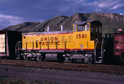 UP SW1500 1501; ex WP 1501. Salt Lake City. May 20, 1984. (Warren Johnson Photo)
