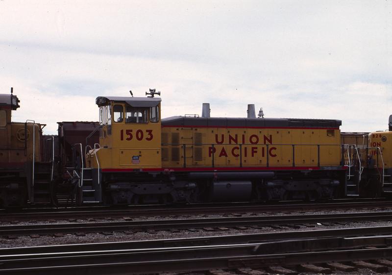 UP SW1500 1503; ex WP 1503. Salt Lake City. May 19, 1984. (Warren Johnson Photo)