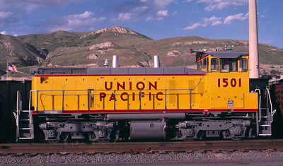 UP SW1500 1501; ex WP 1501. Salt Lake City. May 20, 1984. (Warren Johnson Photo)