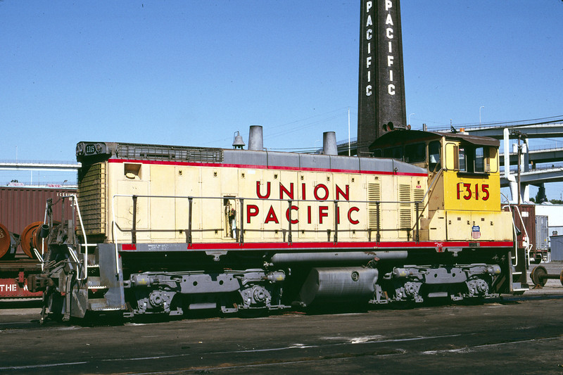 UP SW1500 1315; ex WP 1501. Portland, Oregon. May 20, 1989. (Alan Miller Photo)