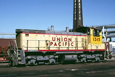 UP SW1500 1315; ex WP 1501. Portland, Oregon. May 20, 1989. (Alan Miller Photo)