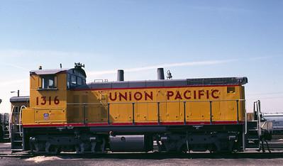 UP SW1500 1316; ex WP 1502. Salt Lake City. April 1990. (Warren Johnson Photo)
