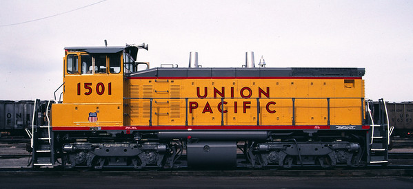 UP SW1500 1501; ex WP 1501. Salt Lake City. May 21, 1984. (Don Strack Photo)