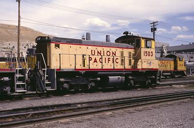 UP SW1500 1503; ex WP 1503. Salt Lake City. (Warren Johnson Photo)