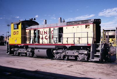 UP SW1500 1317; ex WP 1503. Salt Lake City. August 2, 1987. (Don Strack Photo)