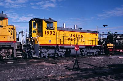 UP SW1500 1502; ex WP 1502. Salt Lake City. May 22, 1984. (Don Strack Photo)