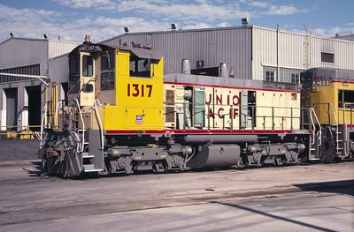 UP SW1500 1317; ex WP 1503. Salt Lake City. August 2, 1987.(Don Strack Photo)