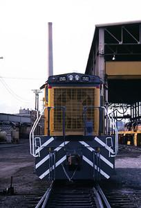 UP SW1500 1501; ex WP 1501. Salt Lake City. May 21, 1984. (Don Strack Photo)
