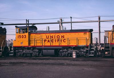 UP SW1500 1503; ex WP 1503. Salt Lake City. May 11, 1984. (Don Strack Photo)