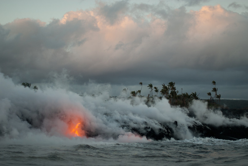 "<span id=""title"">Steaming</span> <em>Lava Entry Point, Hawaii</em> One last look before we headed back. What an amazing, awe-inspiring sight. I'm so glad we got to experience it."