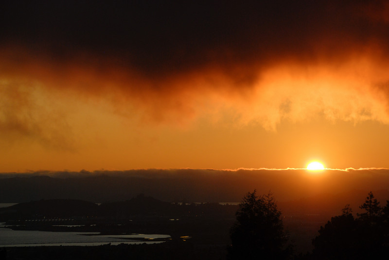"<span id=""title"">Fog Sunset</span> As seen from our friends' house in Berkeley"
