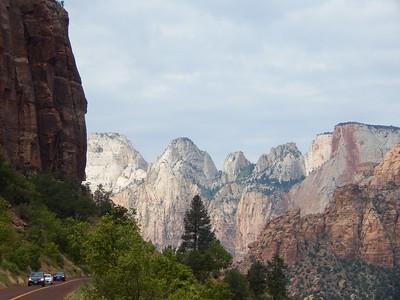 View of the West Rim from the switchbacks in Zion National Park, Utah
