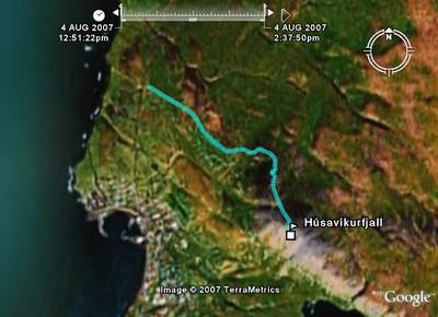 Leiðin á Húsavíkurfjall séð í Google Earth
