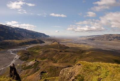 Horft af Valahnúk út Þórsmörk