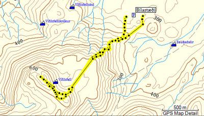 GPS-ferill af leiðinni. Ferillinn var mjög brenglaður og þurfti ég að hreinsa hann til.