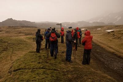 Hópurinn kominn að sæluhúsinu við Múlasel