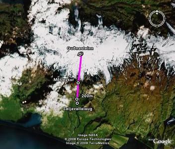 Áætluð leið séð í Google Earth.