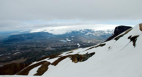 Hofsjökull, Blágnípa og Blágnípujökull. Loðmundur kemur framundan hægra meginn.