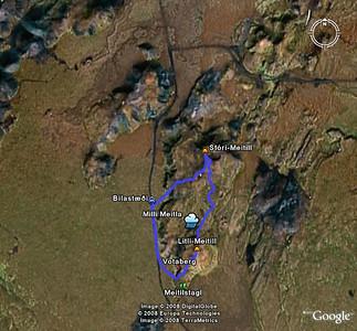 Leiðin séð í Google Earth. Fyrst var haldið á Stóra Meitil og svo suður á Litla Meitil.