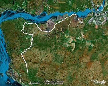 Leiðin sem við gengum. GPS-ferill frá fararstjóra, Ragnari Jóhannessyni, settur inn í Google Earth. The track as seen in Google Earth.