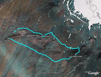 Loftmynd frá Google Earth með leiðinni úr GPS tækinu mínu