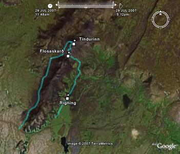 Mynd úr Google Earth sýnir leiðina