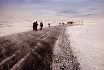 VIð gengum eftir þjóðveginum mest allan tímann.  We mostly walked on the road