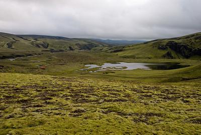 """Horft til baka að """"Dyrum Strútsstigs"""" - gilið þar sem vaðið var yfir Syðri-Ófæru."""