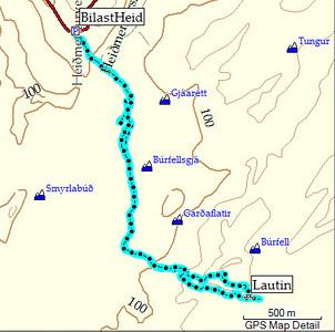 Kort af leiðinni. Ferillinn úr GPS tækinu mínu og kortið úr Mapsource