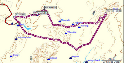 Leiðin. Þegar áningu var lokið hefur GPS-tækið snúist í vasa mínum og skráði ekkert í 30 mínútur, en þann tíma var gengið eftir línuvegi frá Húsfelli.