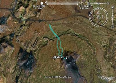 Skálafellsleiðin séð í Google Earth
