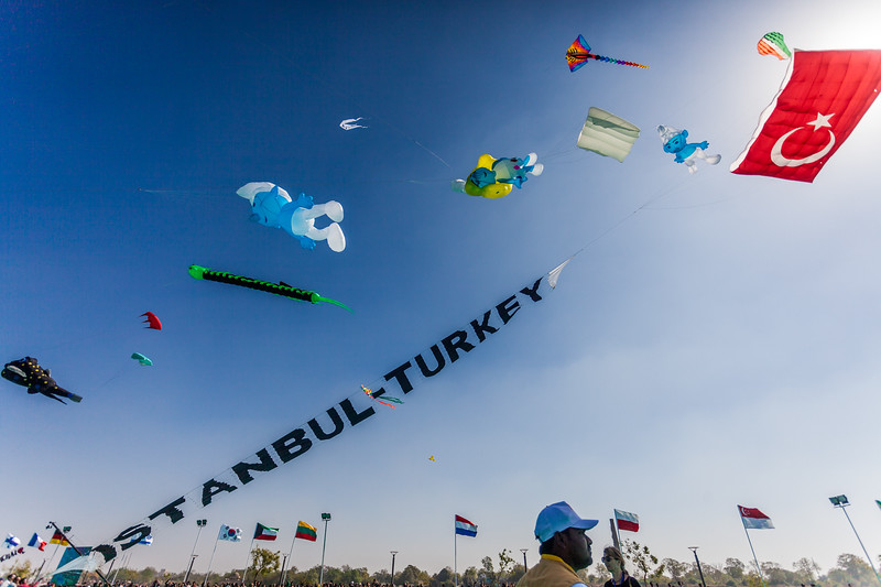 After a lot of effort, kiteists from Turkey manage to get this huge, heavy kite up in the air at the International Kite Festival 2019, Ahmedabad, India
