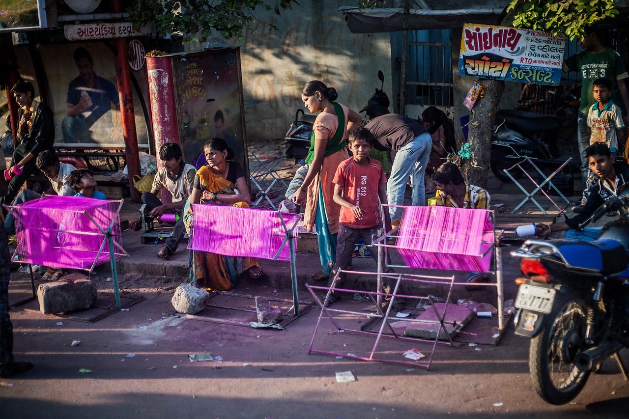 Manjha making in Ahmedabad, Gujarat, India